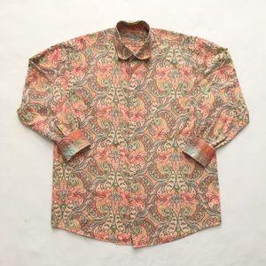 Alan Flusser Paisley Button Long Sleeve ShirtM